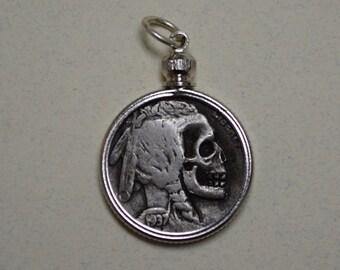 Indian Head Hobo Nickel Skull necklace