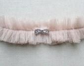 Degas silk garter with crystal bow