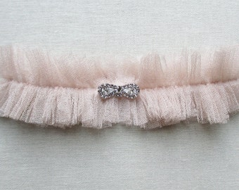 Degas silk garter with crystal bow