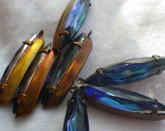 Dark Bermuda Blue 24X6mm Glass Navette Earring Drops 6 Pcs