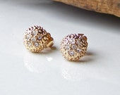 REDUCED Rhinestone and Gold Nubby Earrings, Vintage Earrings, Pave Style Earrings, Etsy Vintage, Etsy, Etsy Jewelry, Vintage Earrings