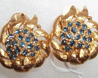 EXQUISITE Brushed Gold-toned Vintage Earrings with Deep Sapphire Blue Rhinestones