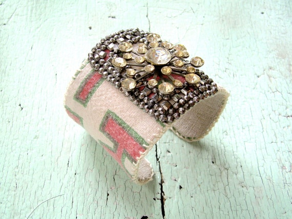 Cuff Bracelet - Grain Sack and Rhinestones