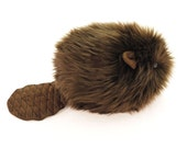 Stuffed Beaver Stuffed Animal Cute Plush Toy Beaver Kawaii Plushie Bernie the Brown Beaver Snuggly Cuddly Faux Fur Toy Large 6x10 Inches