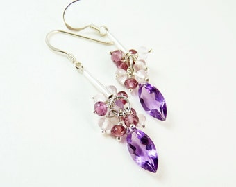 Purple Amethyst Silver Earrings,  Handmade Jewelry