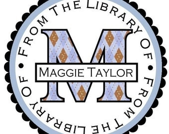 Personalized Library Stickers, Seals, Labels, Tags, Books, Reading, Custom, Set of 12