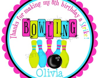 Bowling Stickers, Bowling Birthday Party, Cosmic Bowling , Personalized stickers, favor labels, BIrthday Party , Children, Girls