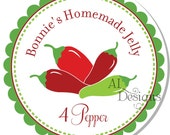 Personalized Stickers -- 4 Pepper -- Personalized Canning Labels, Personalized Preserves Label -- Choice of Size