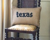 Burlap Charley Pillow - Texas...or your Custom State