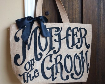 "Mother of Groom Wedding burlap tote - 16"" - mother of groom - mother of bride - custom"