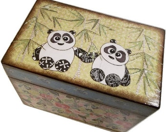 Wishes for Baby Box,  Baby Shower Box, Holds 4x6 Wishes for Baby Cards, Panda and Other Designs, Baby Storage Organization MADE TO ORDER