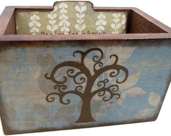 Wedding Guest Book Box, Recipe Box, Wedding Card Box, Couples Gift, Bridal Gift,  Tree Box, Storage, Holds 4x6 Index Cards - MADE TO ORDER