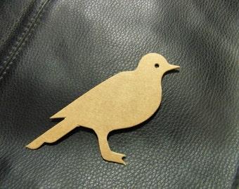 Bird  Die Cut from Kraft Chipboard 4 x 2.75 inches Tall  Pack 6