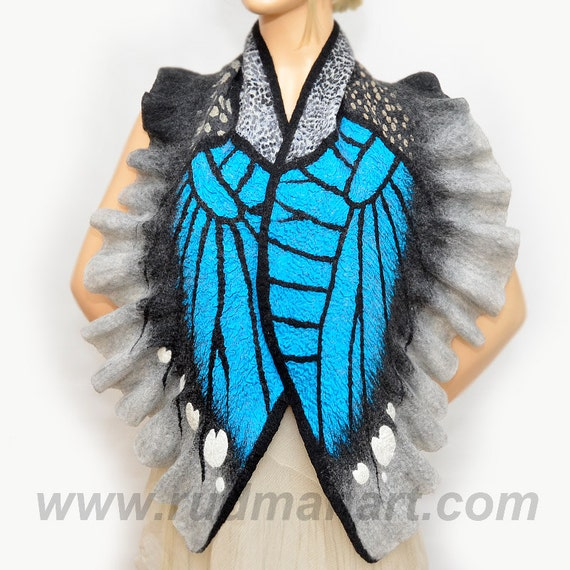 Felted Wool Silk Butterfly Scarf/Wrap/Shawl made from organic natural eco materials in Black Gray Turquoise White colors