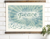 Vintage Map Art, Peace on Earth, Wood Bound Canvas, World Peace Map Art