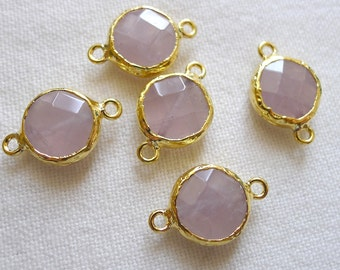 FIVE 14mm Rose Quartz Connector, 22K Gold Plated Shiny