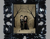 Dark Romance Goth Art Digital Painting -- BETROTHED -- in various sizes