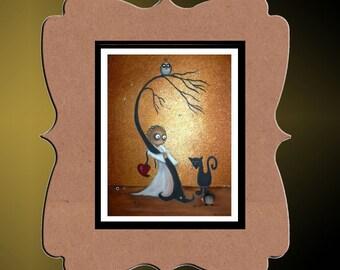 Whimsical Art Creeper Print --- Art  Print Giclee -  I Wish I Was Special -- Owl - Hedgehog - Dragonflies - Black Cat