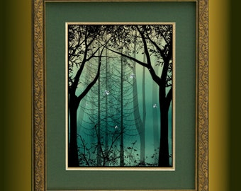Fantasy Trees and Dragonflies Landscape Art Print -- Guardians Of Everlast --Limited Edition of 50--12 x 16 - Digital Painting