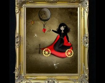 Dark Valentine - Steampunk Art - The Keys to My Heart - Seasonal Art Print - Valentines Day