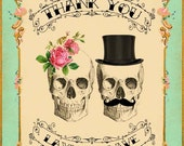 Printable DIY Wedding Thank You Card - Digital Download - Customized Gothic Victorian Skull Day of The Dead Vintage Wedding Stationary