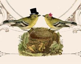 Printable DIY Wedding Invitation Suite - Digital Download - Customized Vintage Victorian Love Birds Wedding Invitation