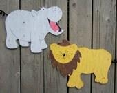 JUNGLE ANIMAL Kids Wood Wall Art - Original Hand Painted Artwork