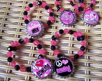 Girls Teens Bowling Team Birthday Party Favor Bracelet 6pk