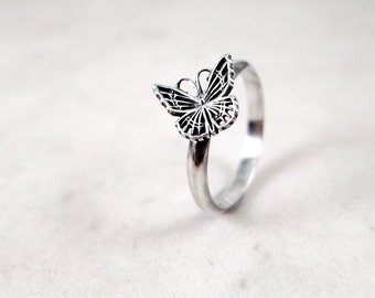 Sterling Silver Butterfly ring, stacking, oxidized, Nature inspired jewelry