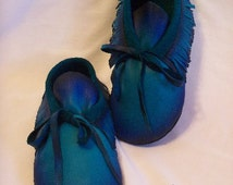 Custom Leather Fringed Moccasins in Turquoise Deerskin Hippie Retro Traditional Style Indian Buckskin Shoes  Handmade by Debbie Leather