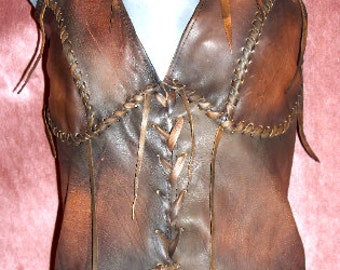 Leather Primitive Halter Top Medieval KHALEESI Fairy Renaissance Game Of Thrones Corset Custom Handmade by Debbie Leather