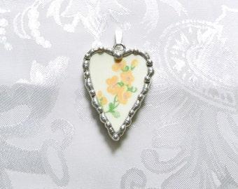 Vintage Broken China Jewelry Pendant