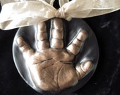 Baby OUTprint ornament in ceramic, mold kit included-babys first christmas handprint or footprint