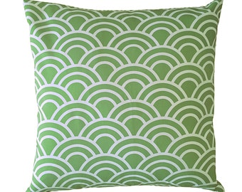 Grass Green and White Swell Geometric Arches Cushion Cover