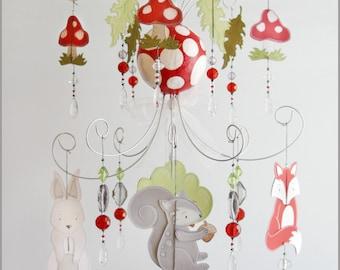 Woodland Baby Chandelier Mobile- Baby Mobile-Nursery Mobile- Nursery Art