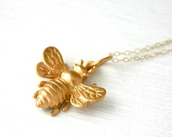 Bee Necklace - Large Vermeil gold honey bee necklace - Gold Necklace - Gift for beekeeper or gardener - Bee Jewelry