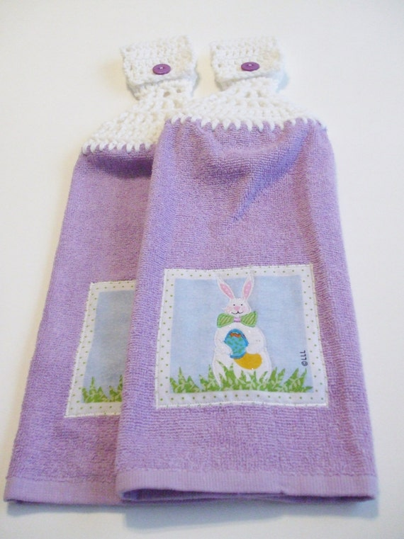 Set Of Two Purple Bunny Hand Towels With White Crocheted Tops