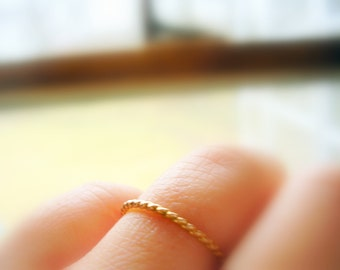 14K Gold 1.3mm Twisted Wedding Band Dainty Gold Ring Stacking Ring - made to order in your finger size