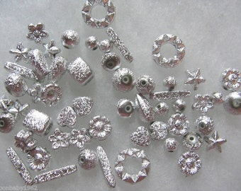 216 Silver Stardust Finish Beads Acrylic 6mm - 17mm Beads Assorted Shapes