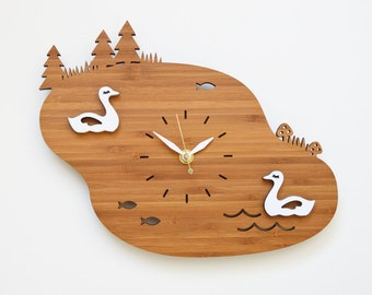 Black friday, Cyber Monday, Sale, Lake Wall Clock with Swans