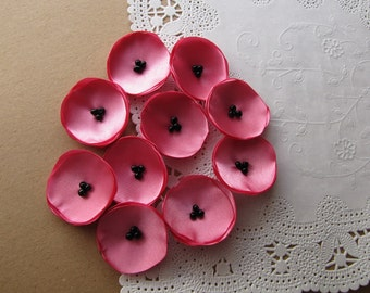 Mini satin appliques, tiny sew on flowers, fabric embellishments, floral supplies, artificial fabric flowers (10pcs)- BUBBLEGUM PINK POPPIES