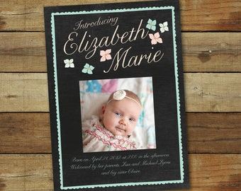 Chalkboard birth announcement, for baby girl, photo baby announcement, printable birth announcement