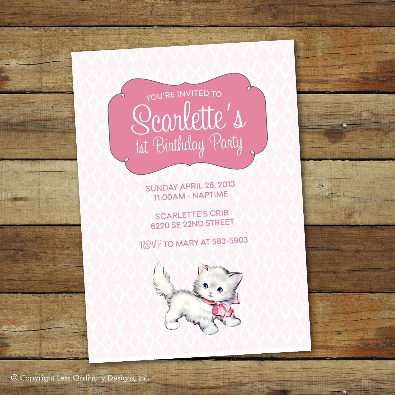 vintage kitten birthday party invitation vintage cat – Cat Birthday Invitations