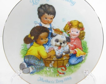 Vintage Avon Plate, Collectible Plate, Mothers Day Plate 1989
