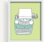 "drawing, vintage typewriter, large wall art, wall art, green, modern home decor, mid century modern, large art - ""Vintage Typewriter No. 5"""