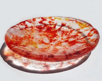 kiln cast glass bowl red and yellow home decor