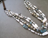 Multistrand pearl and labradorite necklace, long necklace, leather necklace, Bohemian Long Necklace
