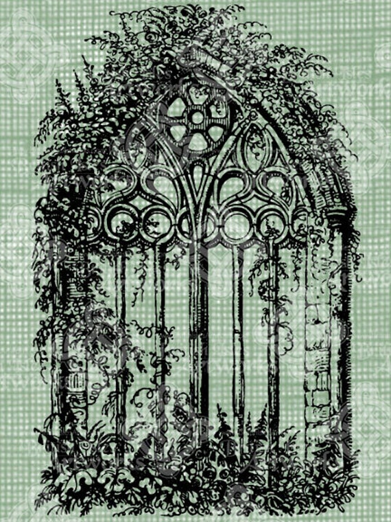 vintage window drawing. digital download gothic cathedral window with vines antique illustration, vintage drawing, digi stamp, stained glass church drawing