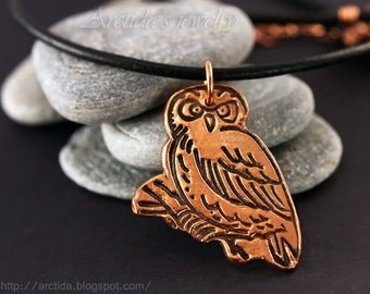 Owl necklace Owl jewelry copper Owl pendant black leather cord - owl bird jewelry woodland forest rustic orange brown eco friendly rusteam