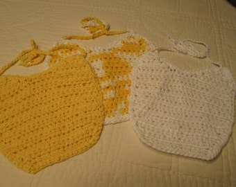 Crocheted  Baby Bibs Set of 3  Cotton Yarn Yellow and White